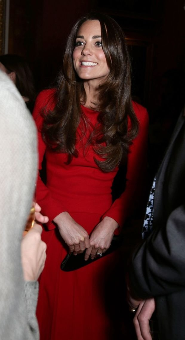 The Duchess of Cambridge meeting guests during a Reception for the Dramatic Arts, at Buckingham Palace, London.