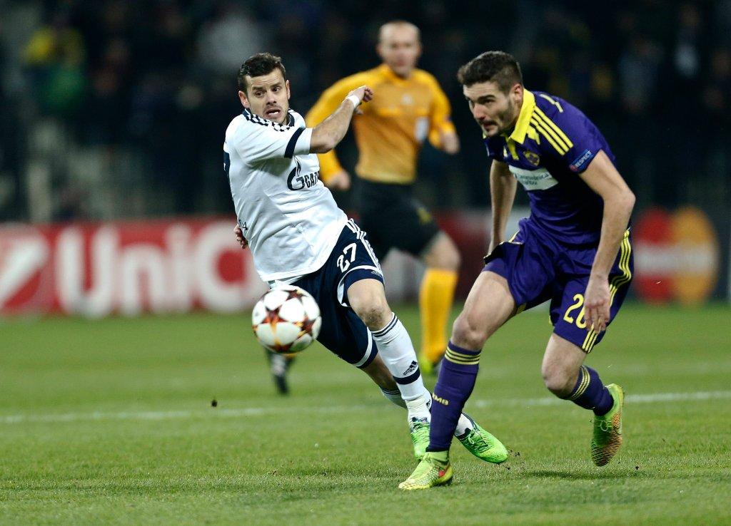 Aleksander Rajcević w meczu z Schalke
