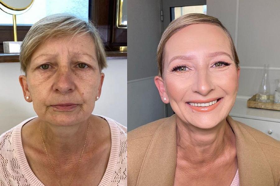 Makijaż odmładzający wykonany przed Annę Wrzodak