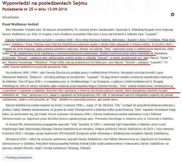 Jedno z oświadczeń poselskich Waldemara Andzela
