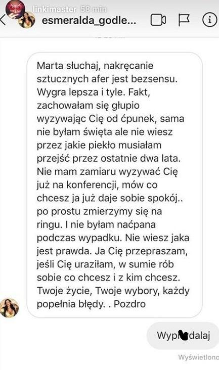 Wiadomość Godlewskiej do Marty Linkiewicz