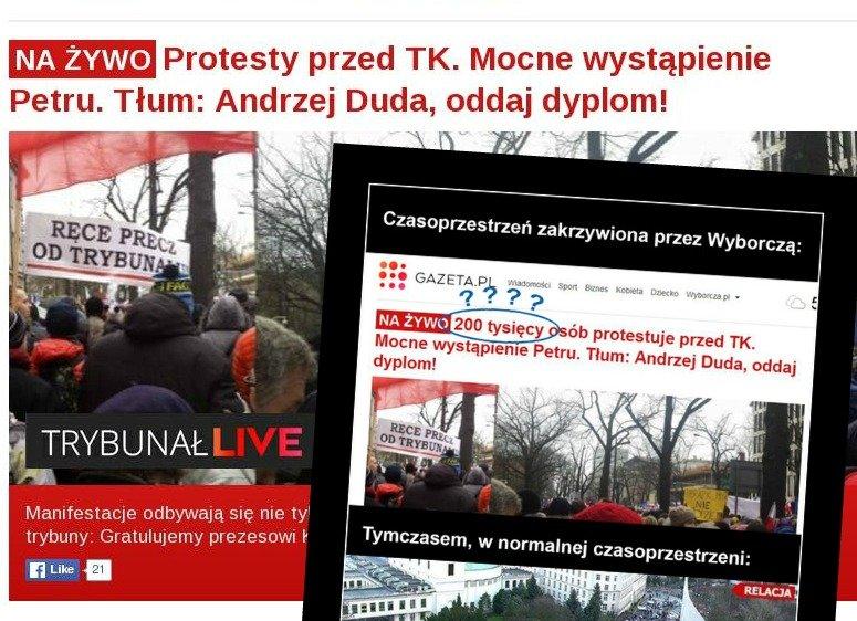 Porównanie strony gł. Gazeta.pl i prawicowego mema