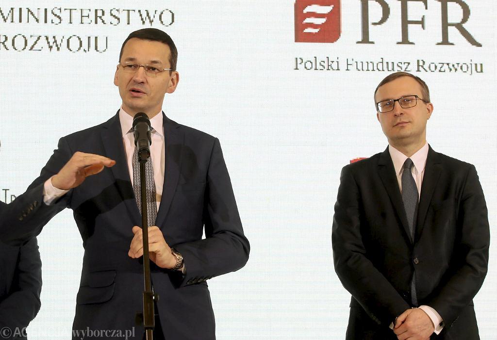 Premier Mateusz Morawiecki i Paweł Borys