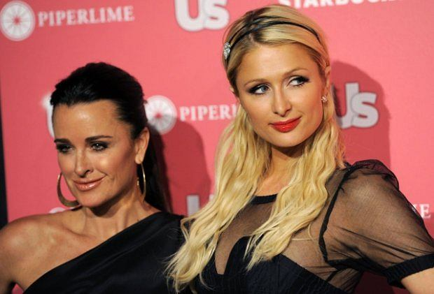 Paris Hilton, right, and her aunt Kyle Richards pose together at Us Weekly's Annual Hot Hollywood Style Issue event, Tuesday, April 26, 2011, in Los Angeles. (AP Photo/Chris Pizzello)