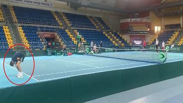 Jerzy Janowicz podczas treningu przed meczem Pucharu Davisa