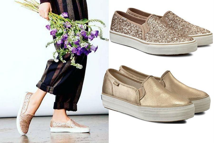 Złote wsuwane buty będą doskonałym uzupełnieniem wakacyjnych stylizacji