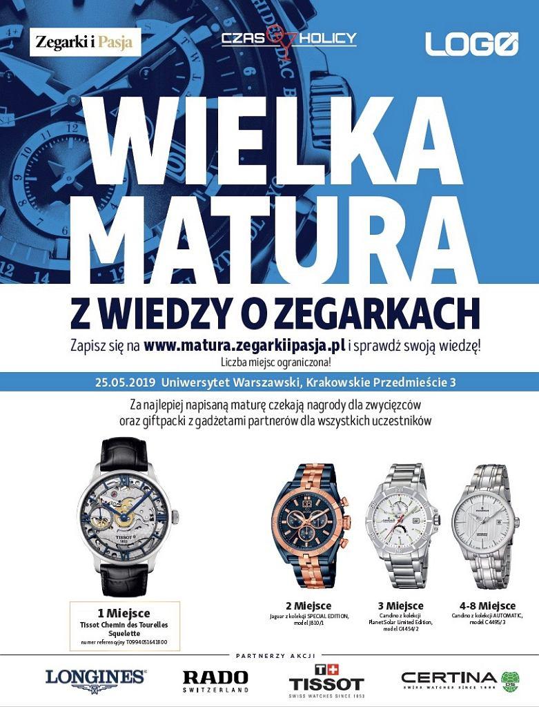 Wielka matura z wiedzy o zegarkach - nagrody