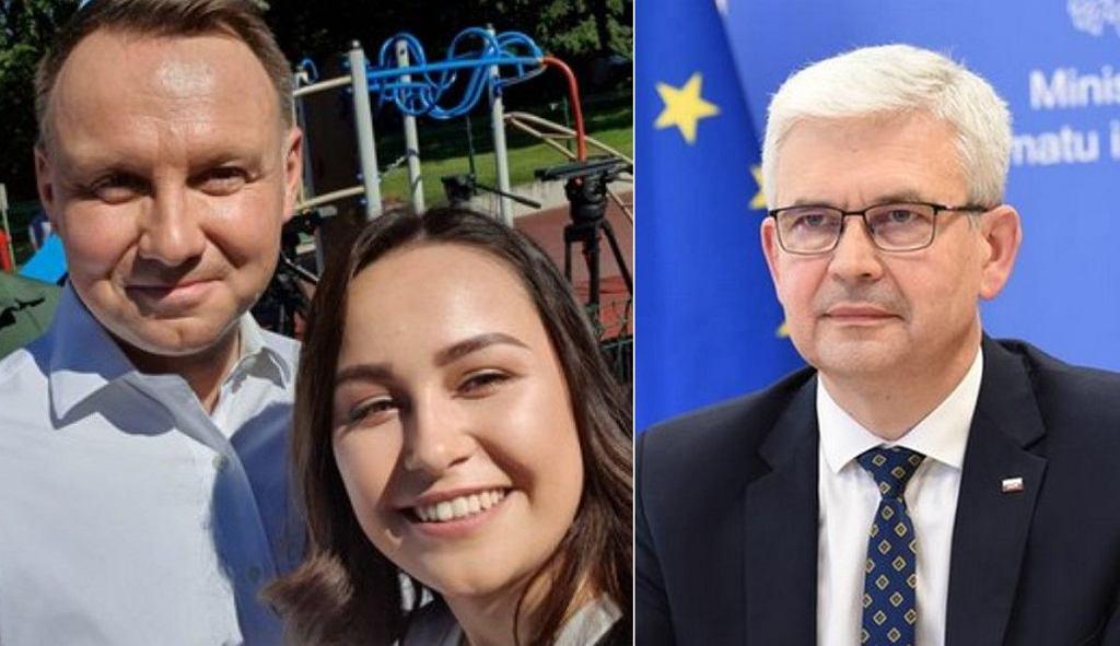 Klaudia Zyska z Andrzejem Dudą podczas kampanii (zdjęcie z Twittera) oraz wiceminister Ireneusz Zyska