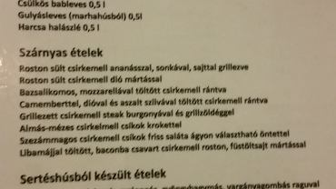 Menu węgierskiej restauracji