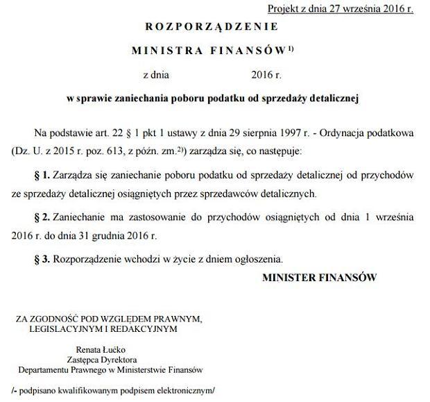 Projekt rozporządzenia MF w sprawie zaniechania poboru podatku od sprzedaży detalicznej