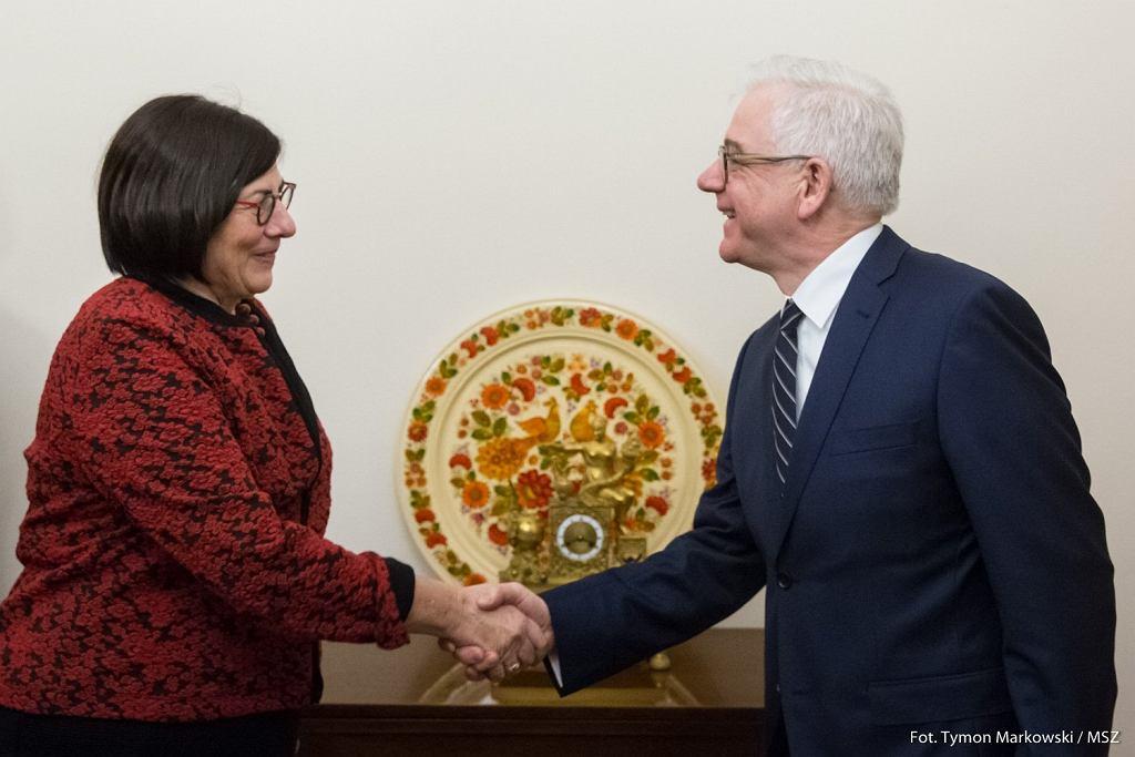 Szef MSZ Jacek Czaputowicz przyjął ambasador Izraela Annę Azari
