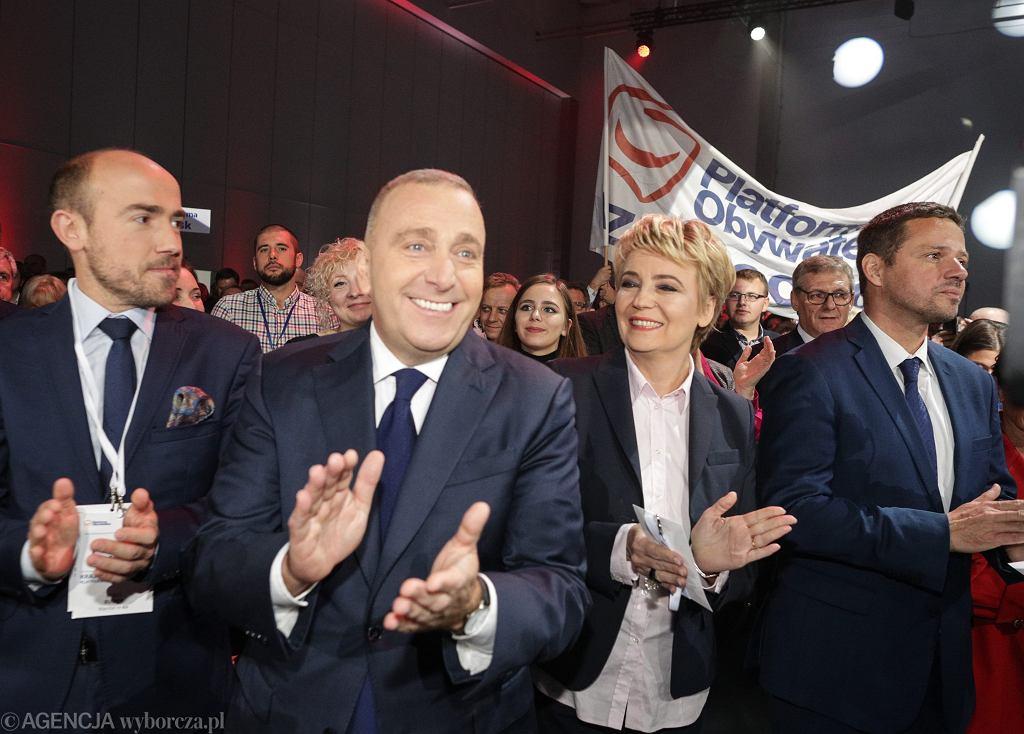 Borys Budka, Grzegorz Schetyna, Hanna Zdanowska i Rafał Trzaskowski podczas konwencji krajowej PO. Łódź, 21 października 2017