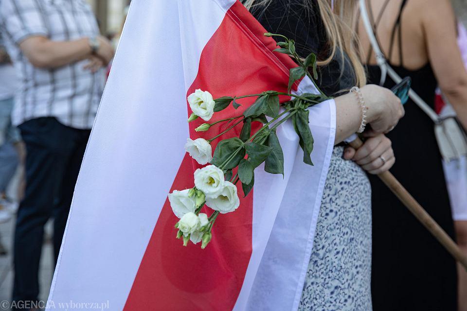 15.08.2020 Warszawa. Plac Defilad. Manifestacja 'Wolna Warszawa dla Wolnej Białorusi'.