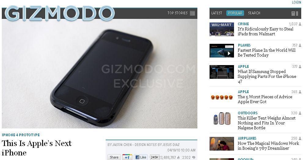 Gizmodo prezentuje prototyp iPhone'a 4