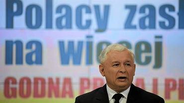Prezes PIS Jarosław Kaczyński podczas konferencji,Warszawa, 03.09.2011