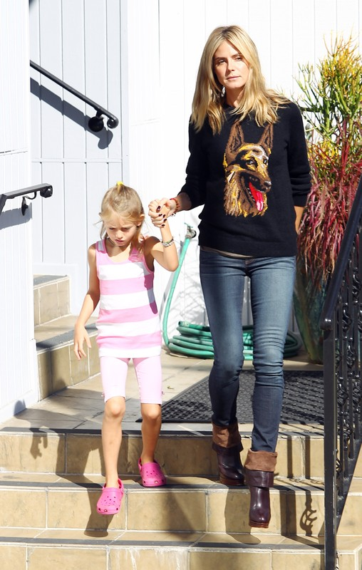 Heidi Klum takes her kids to karate and dance class in Brentwood, California.  Pictured: Heidi Klum and Leni Klum