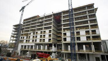 Budowa hotelu przy ul. Łąkowej w Łodzi (listopad 2011)