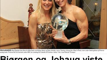 Tytuł z Dagbladet: Bjoergen i Johaug pokazały mięśnie na Sportowej Gali