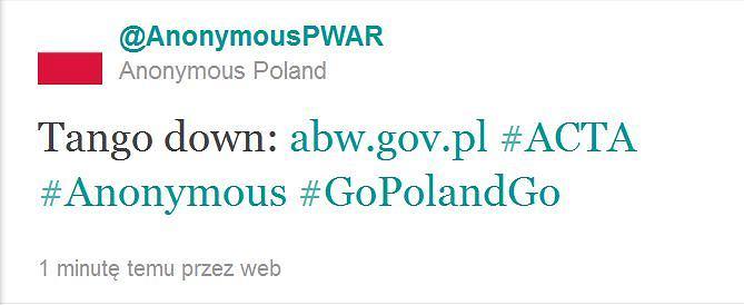 Anonimowi atakują ABW