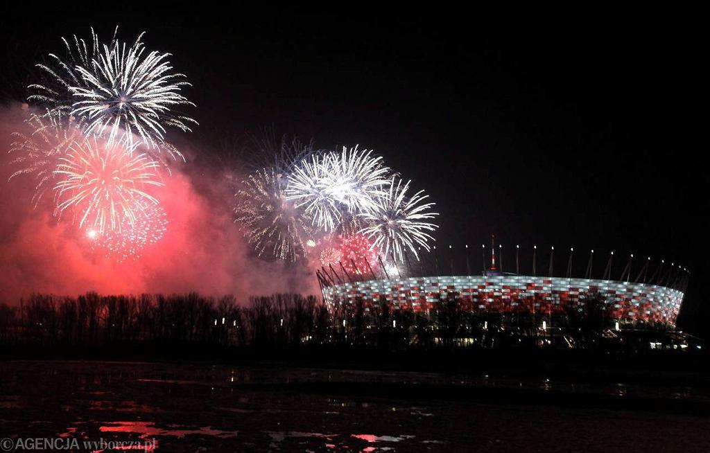 Pokaz sztucznych ogni na Stadionie Narodowym
