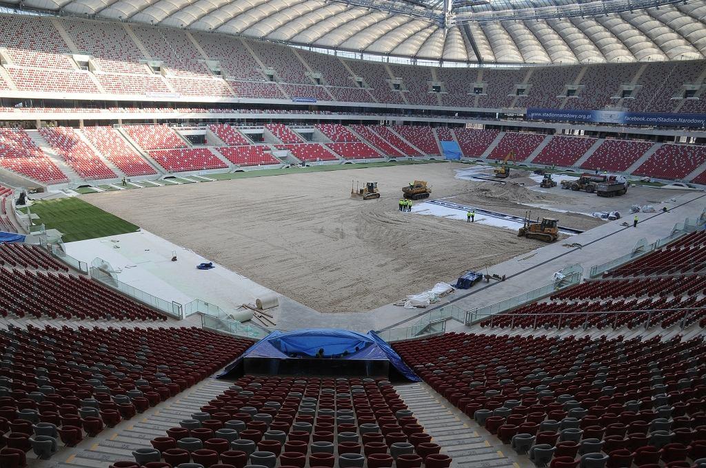 Tak płyta Stadionu Narodowego wyglądała w piątek 03.02.2012