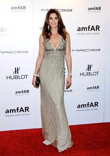 Model Cindy Crawford attends amfAR's New York gala benefit at Cipriani Wall Street on Wednesday, Feb. 8, 2012 in New York. (AP Photo/Evan Agostini)