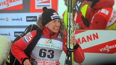 Justyna Kowalczyk po wygranym biegu na 10 km stylem klasycznym na zawodach Pucharu Świata w Jakuszycach