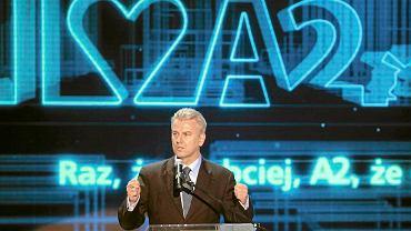 Cezary Grabarczyk podczas uroczystego otwarcia autostrady A2. Zdjęcie z listopada 2011 r.