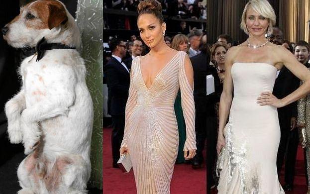 Oscary 2012 - gwiazdy na czerwonym dywanie i podczas ceremonii. Zobaczcie, jak się prezentowali słynni aktorzy, aktorki, reżyserzy i... pies Uggie.