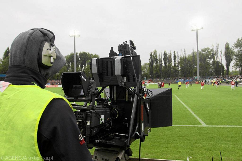 Kamera Canal+ na stadionie w Krakowie