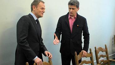 Donald Tusk i Janusz Palikot w Sejmie, 16 lutego 2012 r.