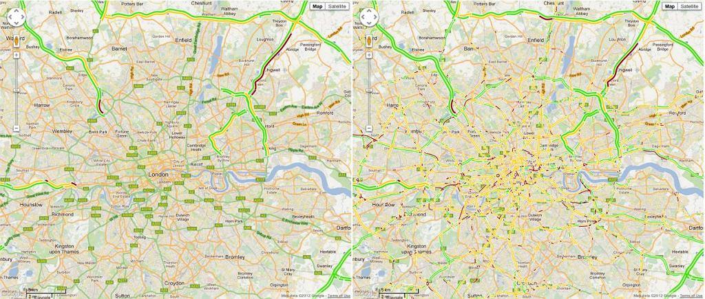 Korki w Londynie w Google Maps