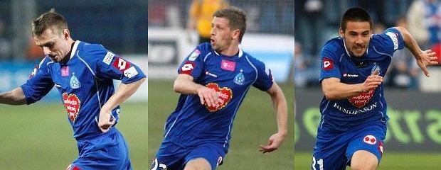 Marcin Malinowski (w środku) nie zagra w najbliższym meczu Ruchu. Gabor Straka (z lewej) i Paweł Lisowski (z prawej) mają taką szansę.