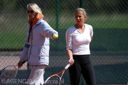 Iwona Kuczyńska i Marta Domachowska - jeden z treningów podczas J&S Cup