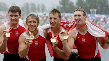 Zwycięska czwórka podwójna (od lewej): Adam Korol, Marek Kolbowicz, Michał Jeliński, Konrad Wasilewski