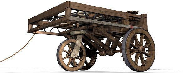 Samochód zbudowany według planów Leonarda z Vinci jeździ dzięki energii zmagazynowanej w sprężynie