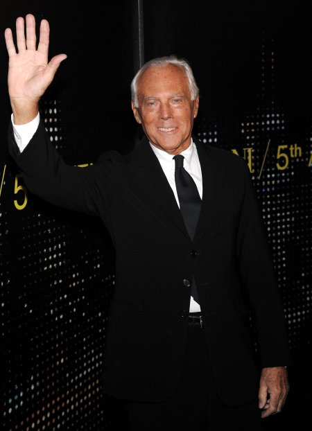 Fashion designer Giorgio Armani attends the 'Armani 5th Avenue' store opening party, Tuesday, Feb. 17, 2009 in New York. (AP Photo/Evan Agostini)