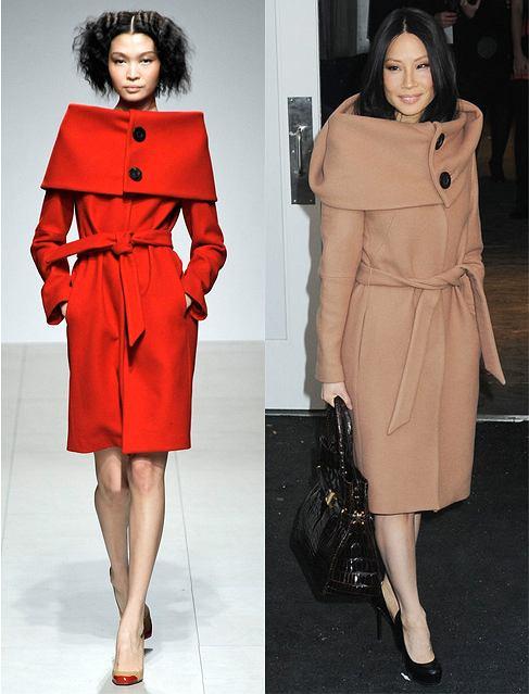 Lucy Liu w płaszczu z kolekcji jesień/zima 2008 Martin Grant, projekt Martin Grant