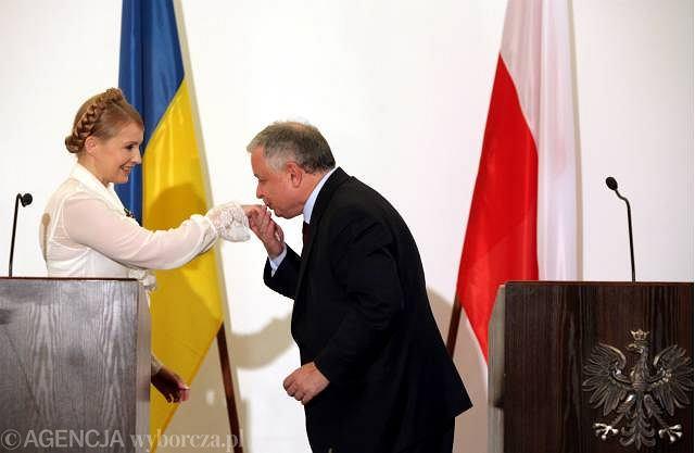 Lech Kaczyński i Julia Tymoszenko podczas spotkania w Warszawie, lipiec 2008