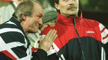 Franciszek Smuda i Tadeusz Gapiński w 1997 roku na stadionie Widzewa