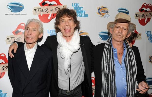 O lewej: Charlie Watts, Mick Jagger i Keith Richards z The Rolling Stones