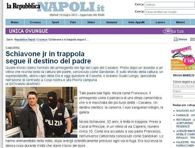 Zdjęcie Nicola Schiavone we włoskiej gazecie La Repubblica