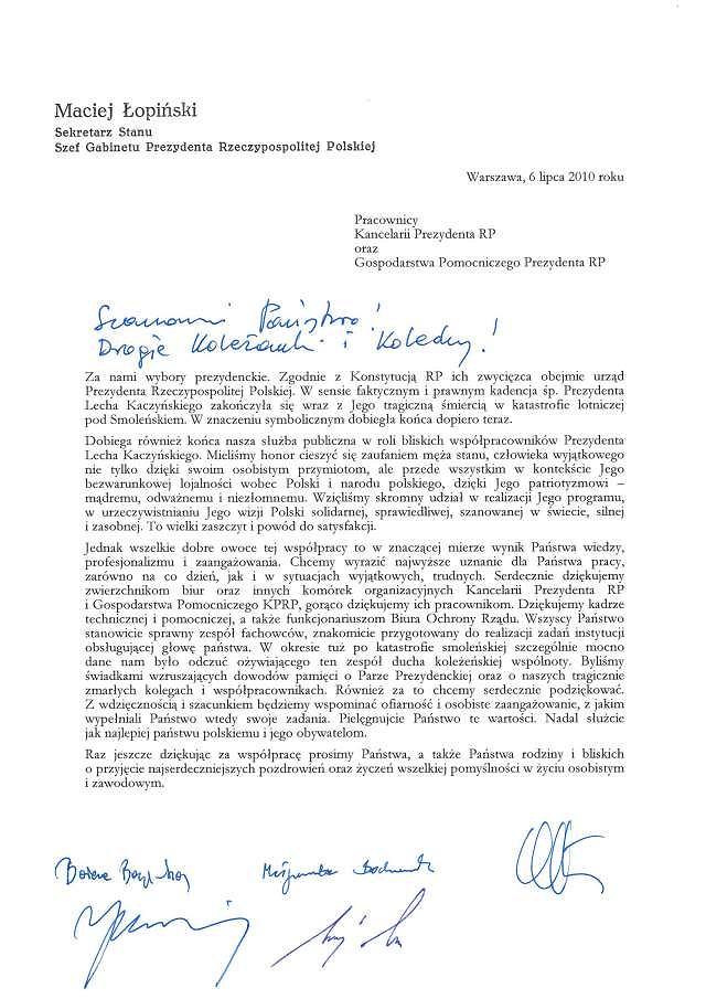 List ministrów z Kancelarii Prezydenta Lecha Kaczyńskiego do pracowników kancelarii