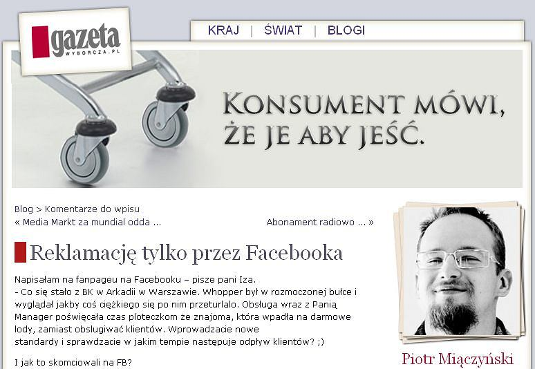 Blog Supermarket - historia reklamacji na Facebooku