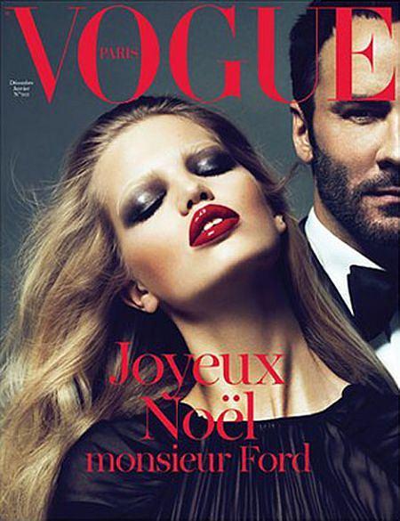 Daphne Groeneveld i Tom Ford na okładce Vogue Paris - grudzień/styczeń 2010/2011