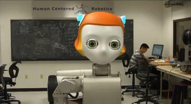 Komiksowa głowa robota firmy Meka Robotics.