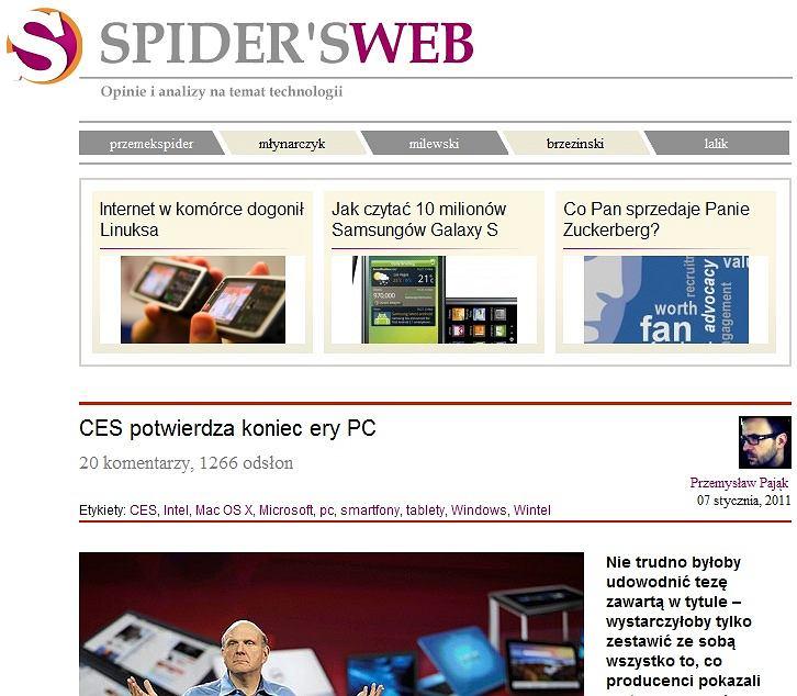 Na zdjęciu wpis CES potwierdza koniec ery PC