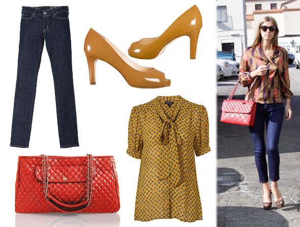 nicky hilton, drożej/taniej, ciuchy, czółenka, chanelka, peep toe, inspiracje, dodatki, wiosna/lato 2011, wzory, rurki, dżinsy, czerwona torebka, koszula