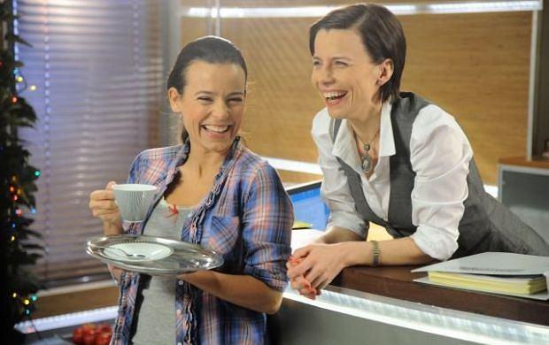 Agata Kulesza i Anna Mucha na planie serialu