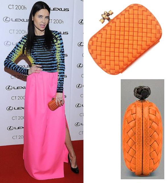 Joanna Horodyńska na imprezie Lexus Fashion Night 6 z pomarańczową kopertówką Bottega Veneta za około 3600 zł